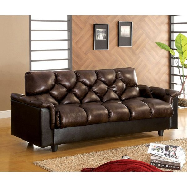 Furniture Of America Bowie Dark Brown Faux Leather Futon