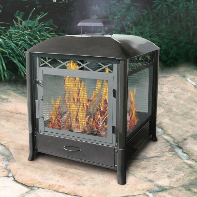 shop landmann usa black steel outdoor wood-burning fireplace at