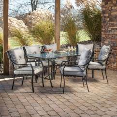 Patio Table And Chair Sets Lowes Rocking Design Jimi La Redoute Shop Hanover Outdoor Furniture Lavallette 7-piece Brown Metal Frame Dining Set With Silver ...
