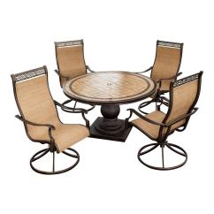 Swivel Reclining Chairs Small Chair London Design Museum Shop Hanover Outdoor Furniture Monaco 5-piece Tan Metal Frame Patio Dining Set At Lowes.com