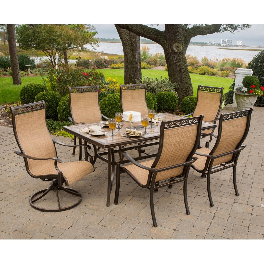 Lowes Outdoor Table And Chairs Hanover Outdoor Furniture Monaco 7 Piece Tan Metal Frame Patio Set