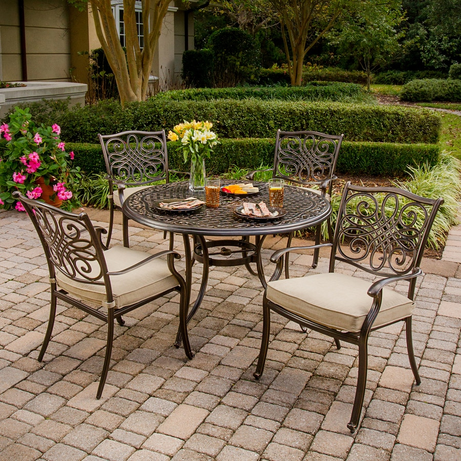 Lowes Outdoor Table And Chairs Hanover Outdoor Furniture Traditions 5 Piece Bronze Metal Frame