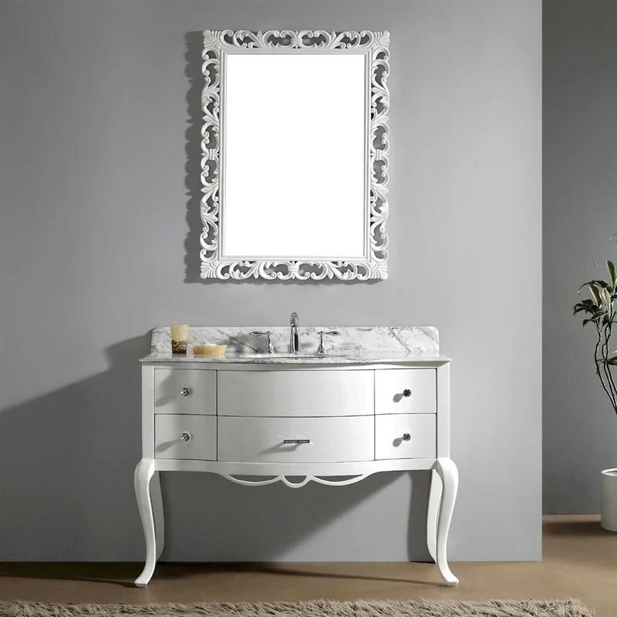 Shop Virtu USA Charlotte White Undermount Single Sink Oak Bathroom Vanity with Natural Marble
