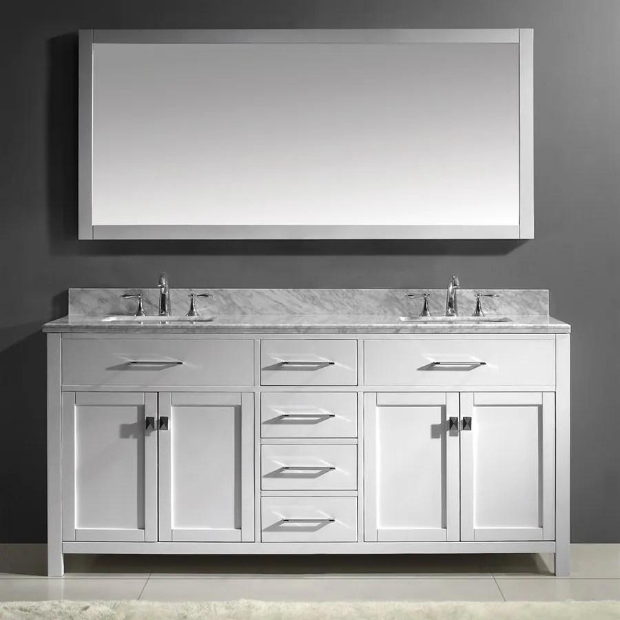 virtu usa caroline white double sink vanity with carrara white natural marble top common