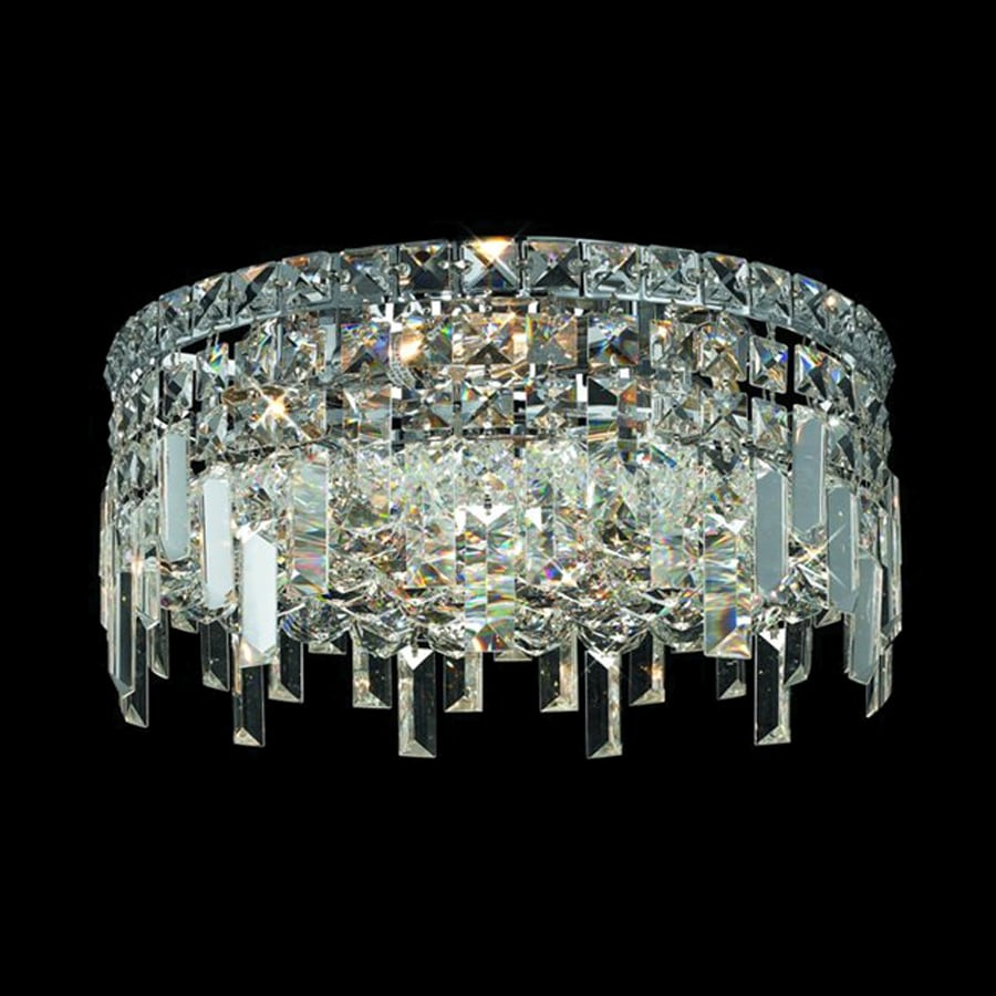 Elegant Lighting Maxim 16 In W Chrome Crystal Flush Mount