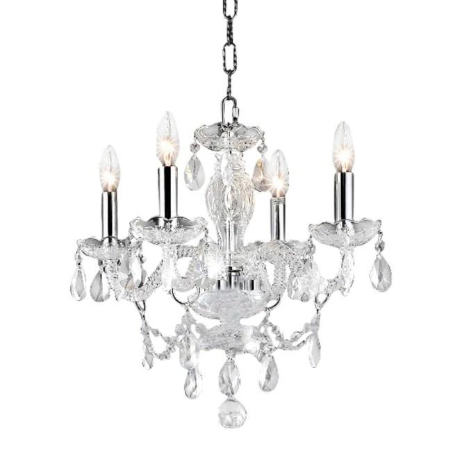 Elegant Lighting Princeton 17 In 4 Light Chrome Crystal Candle Chandelier