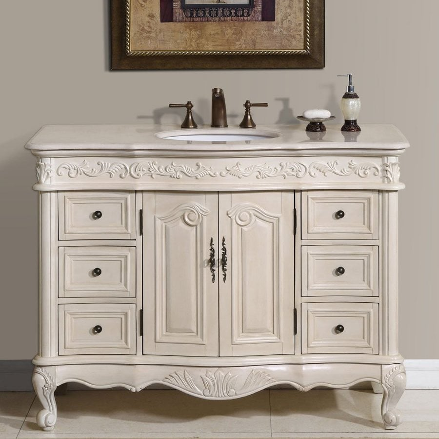 Shop Silkroad Exclusive Ella Antique White Undermount Single Sink Bathroom Vanity with Top