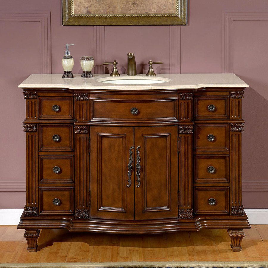 lowes undermount kitchen sink refurbish cabinets shop silkroad exclusive esther walnut single vanity ...