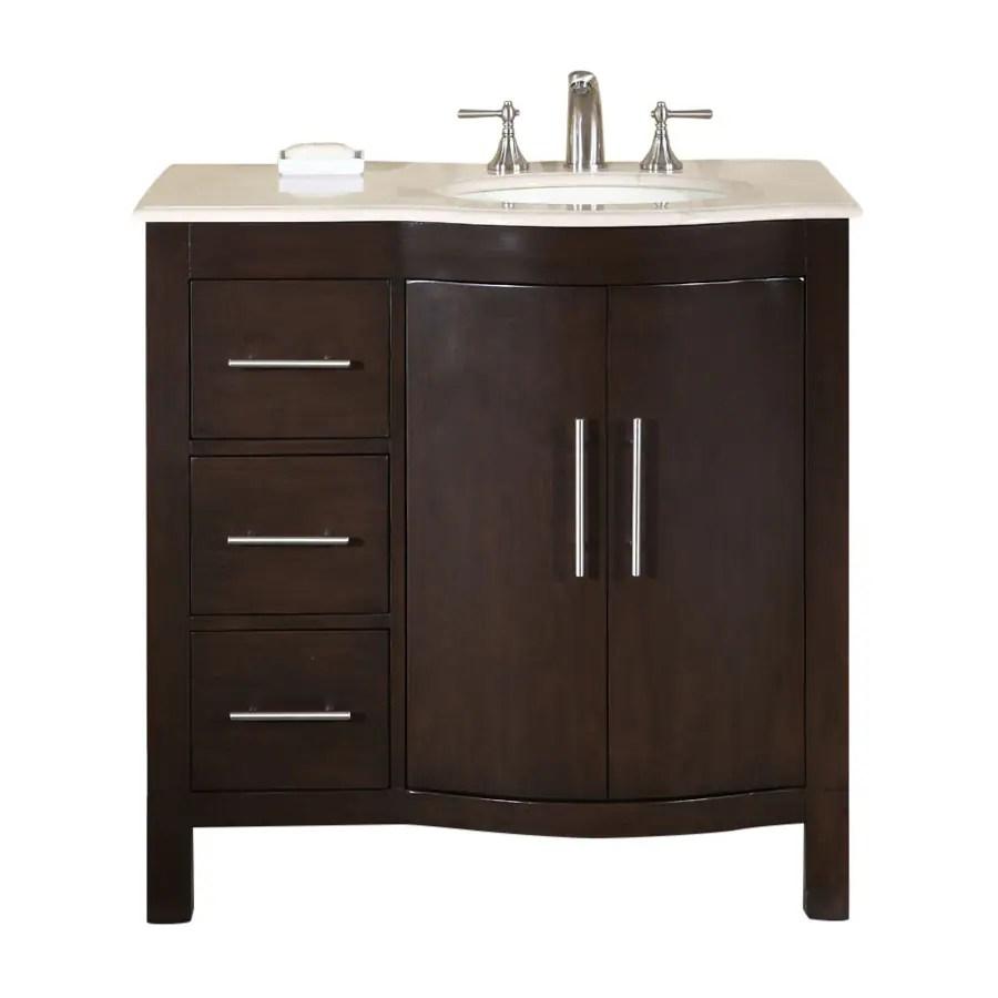 Shop Silkroad Exclusive Kimberly Dark Walnut Undermount Single Sink Bathroom Vanity with Top