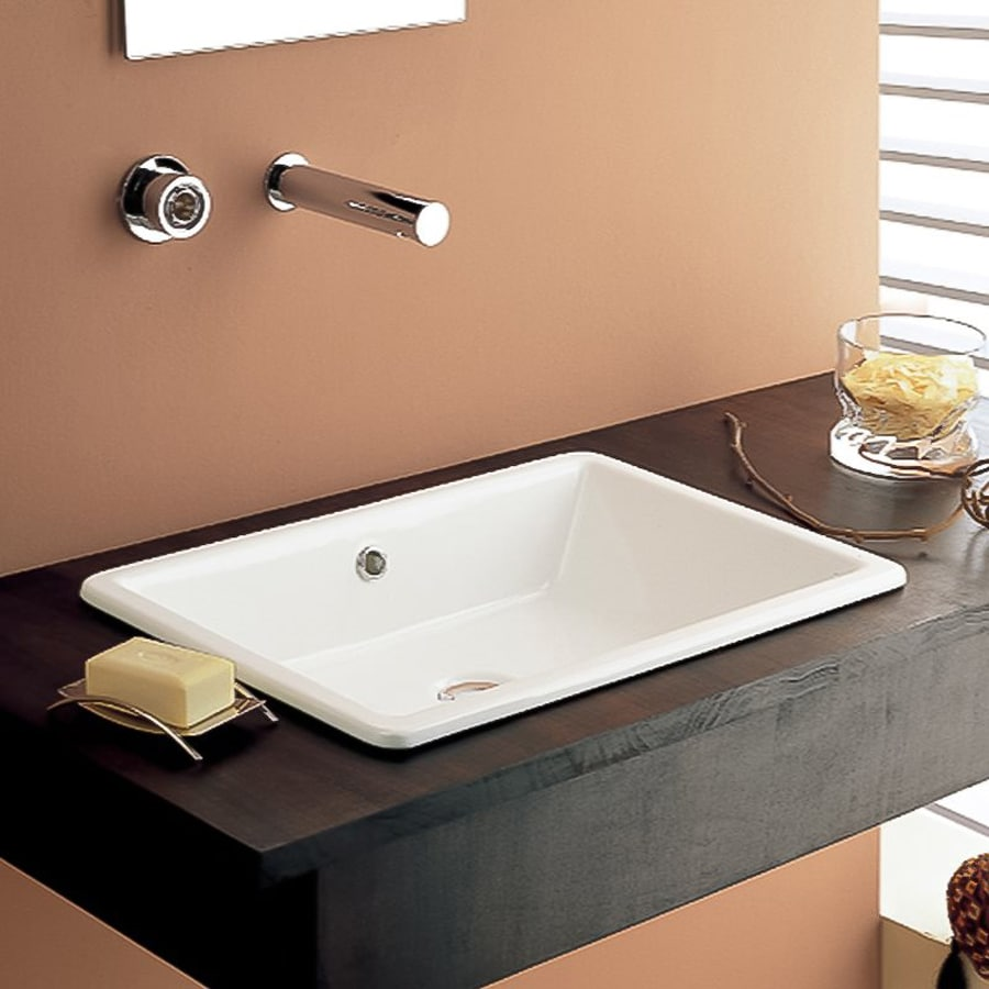 Shop Nameeks Scarabeo White Dropin Rectangular Bathroom Sink with Overflow at Lowescom