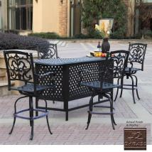 Darlee Santa Barbara Mocha Aluminum Patio Bar With 4