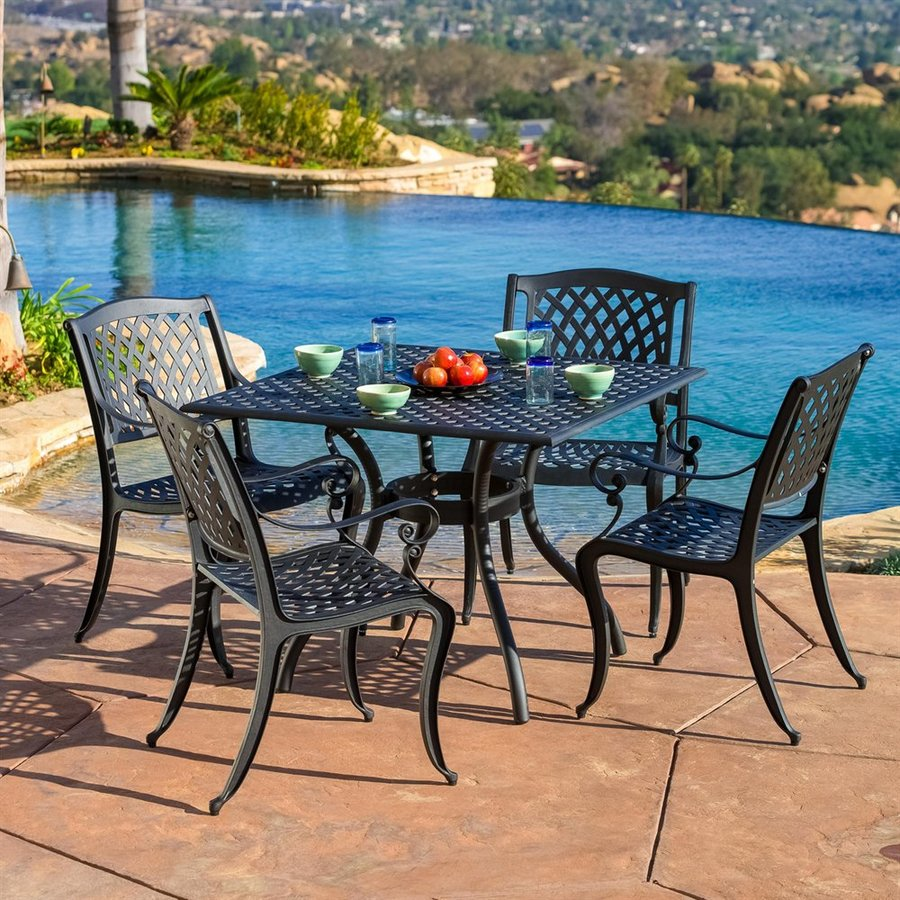 black metal patio chairs faux leather reception best selling home decor hallandale 5 piece frame dining set