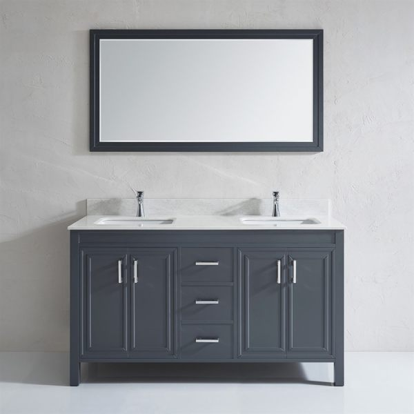 gray double sink bathroom vanity Shop Spa Bathe Cora French gray Double Sink Vanity with Off-white/grey veins Engineered Stone
