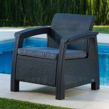 Keter Corfu Rattan Resin Conversation Chair With Charcoal