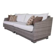 Rst Brands Cannes Solid Cushion -white Wicker Sofa