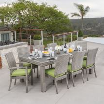 Rst Brands Cannes 9-piece Brown Wood Frame Wicker Patio