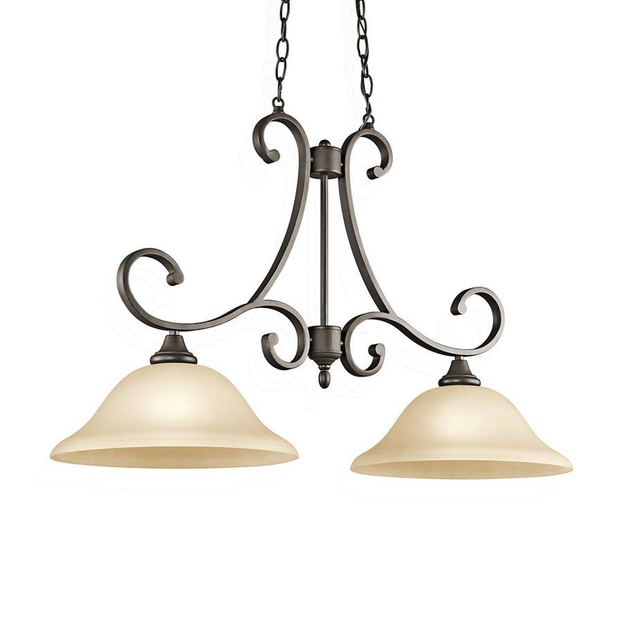 kichler lighting monroe 34 5 in w 2 light olde bronze kitchen island light with tinted shades
