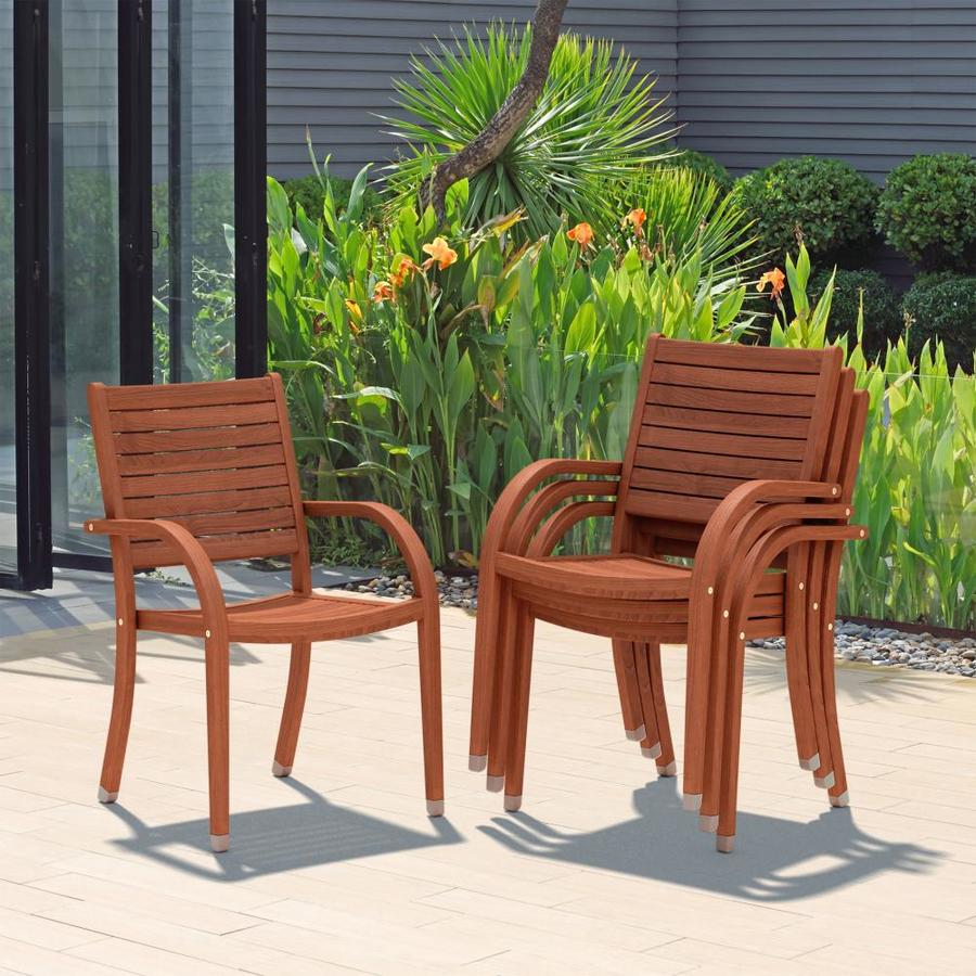 international home amazonia set of 4 stackable brown wood frame stationary dining chair s with brown slat seat
