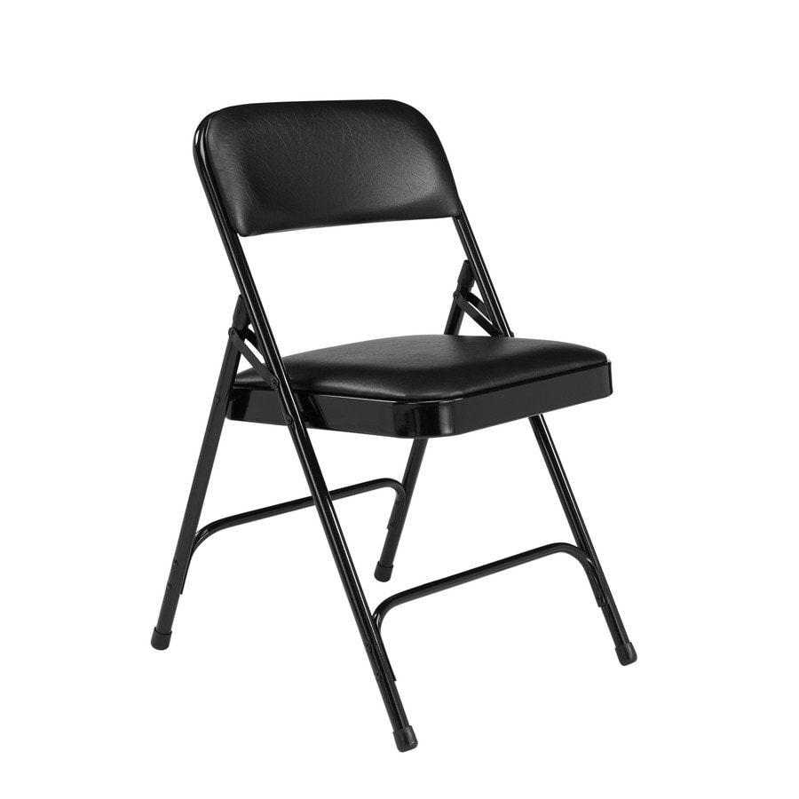 folding chairs outdoor use racing car chair officeworks at lowes com national public seating 4 pack indoor steel black banquet