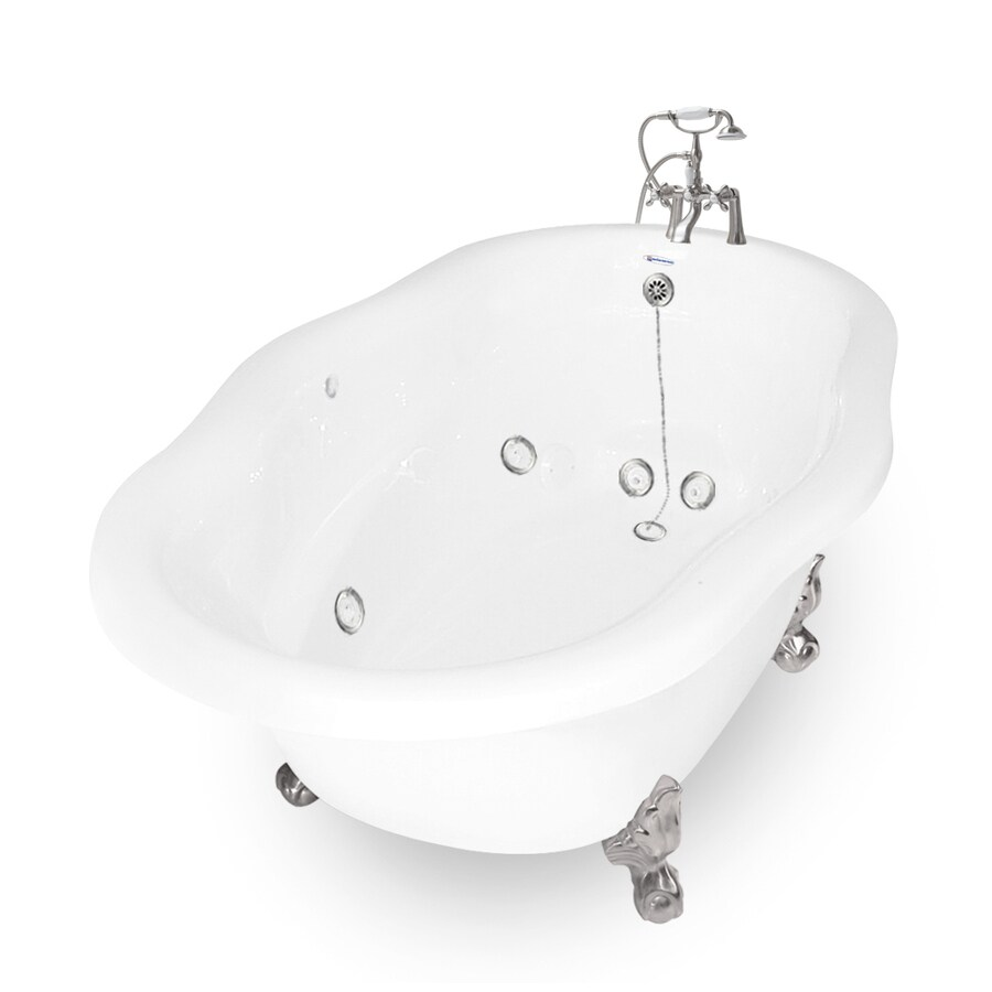 American Bath Factory Caspian 72 In White Acrylic Oval