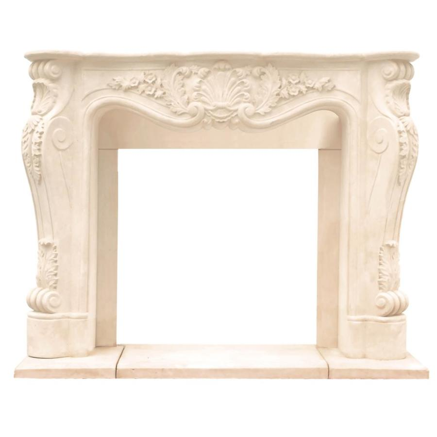 Shop HISTORIC MANTELS LIMITED Chateau 62in W x 50in H Distressed Ivory Traditional Fireplace