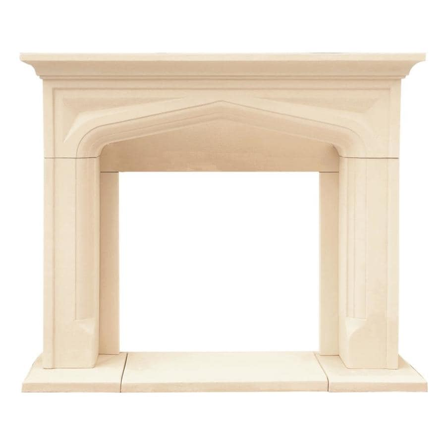 Shop HISTORIC MANTELS LIMITED Chateau 62in W x 52in H Distressed Ivory Traditional Fireplace