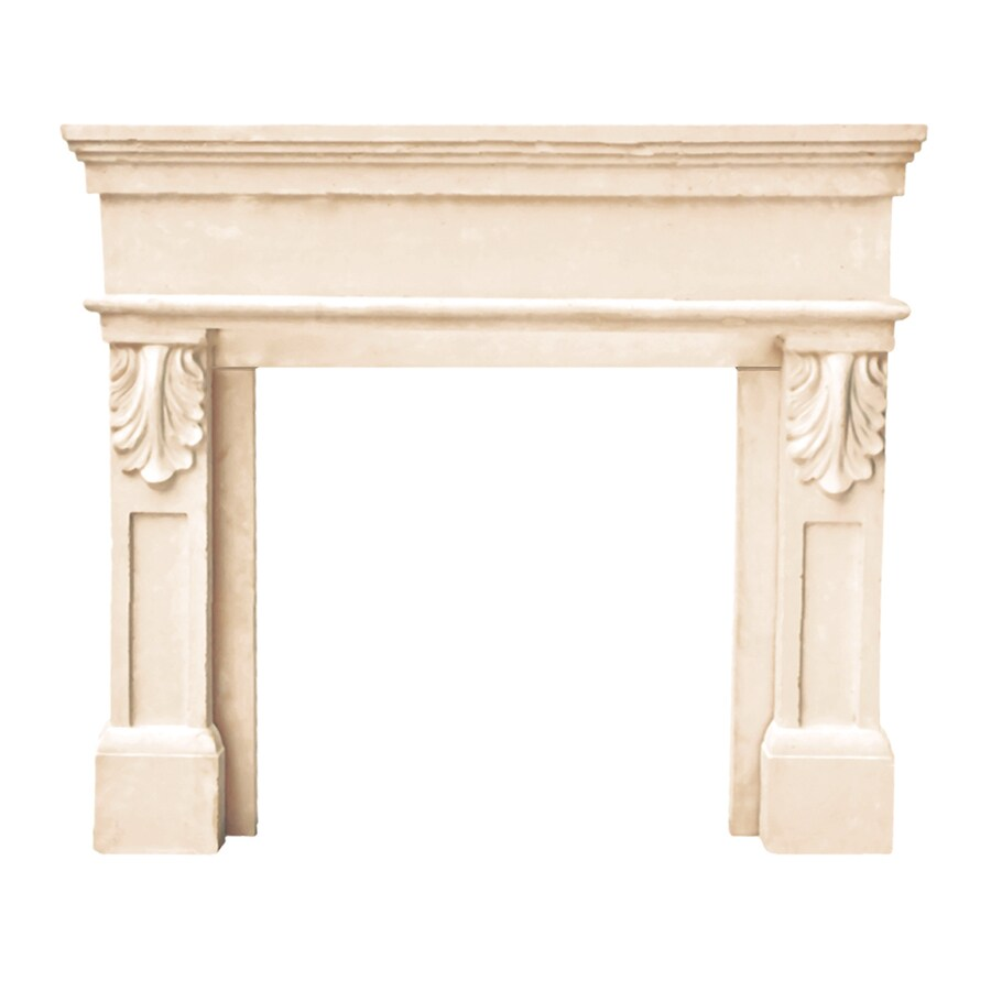 HISTORIC MANTELS LIMITED Designer 53in W x 47in H Distressed IvoryBeige Traditional Fireplace