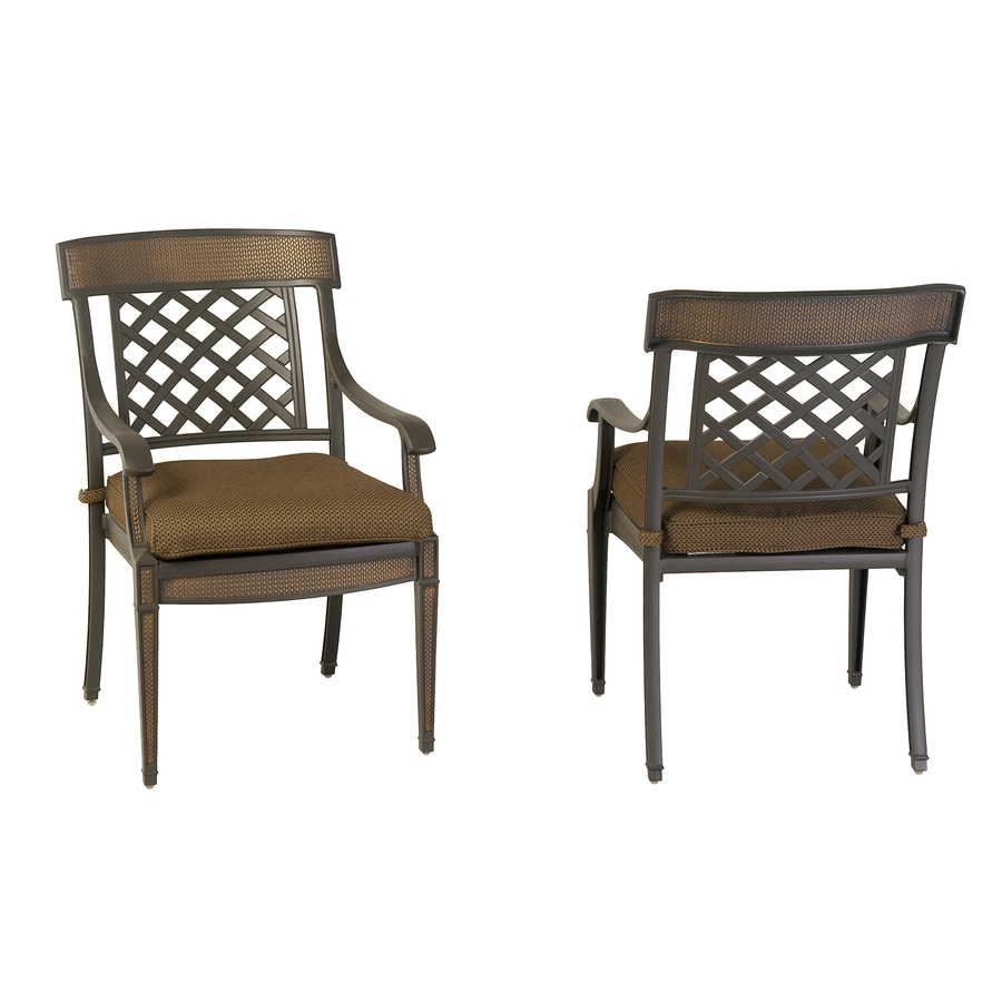 Lowes Outdoor Table And Chairs Garden Treasures Set Of 2 Herrington Aluminum Patio Dining Chairs