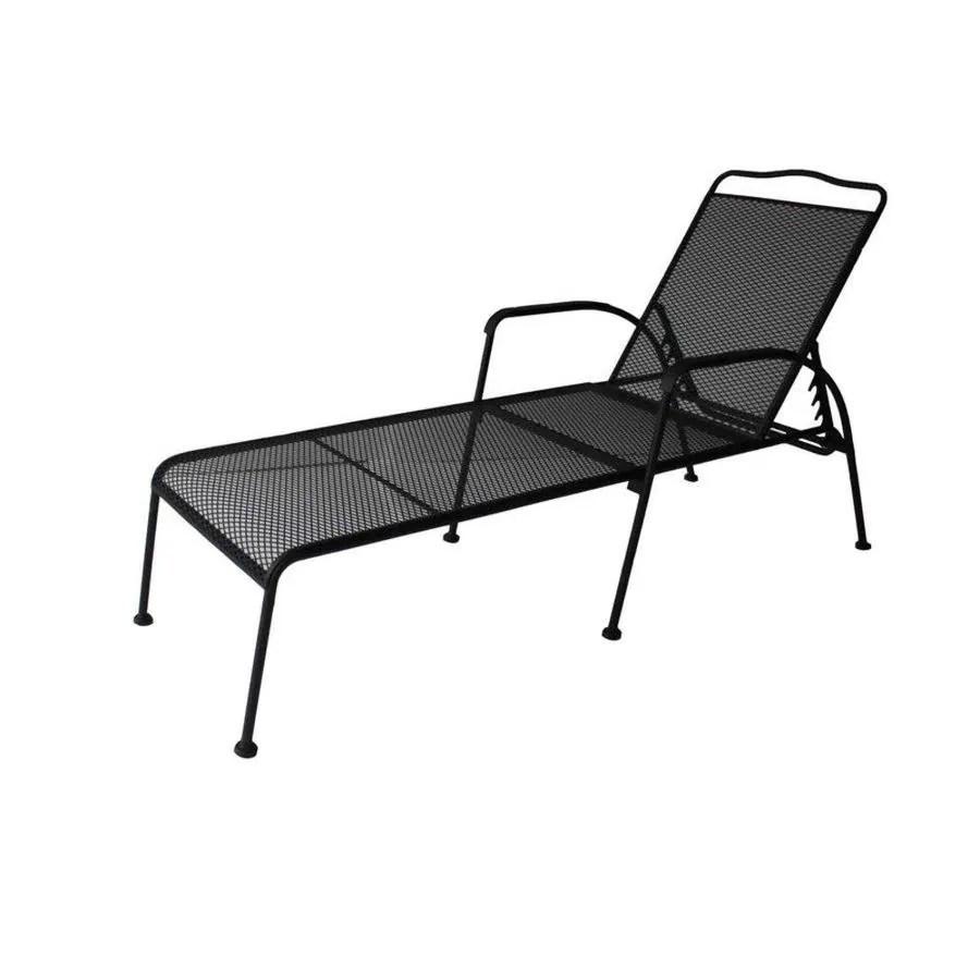 pd garden treasures davenport black steel patio chaise lounge chair
