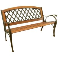 Shop Garden Treasures 25-in W x 50-in L Wood Patio Bench ...