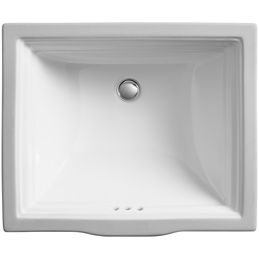 kohler memoirs white undermount rectangular bathroom sink with overflow drain 20 6875 in x 17 3125 in in the bathroom sinks department at lowes com
