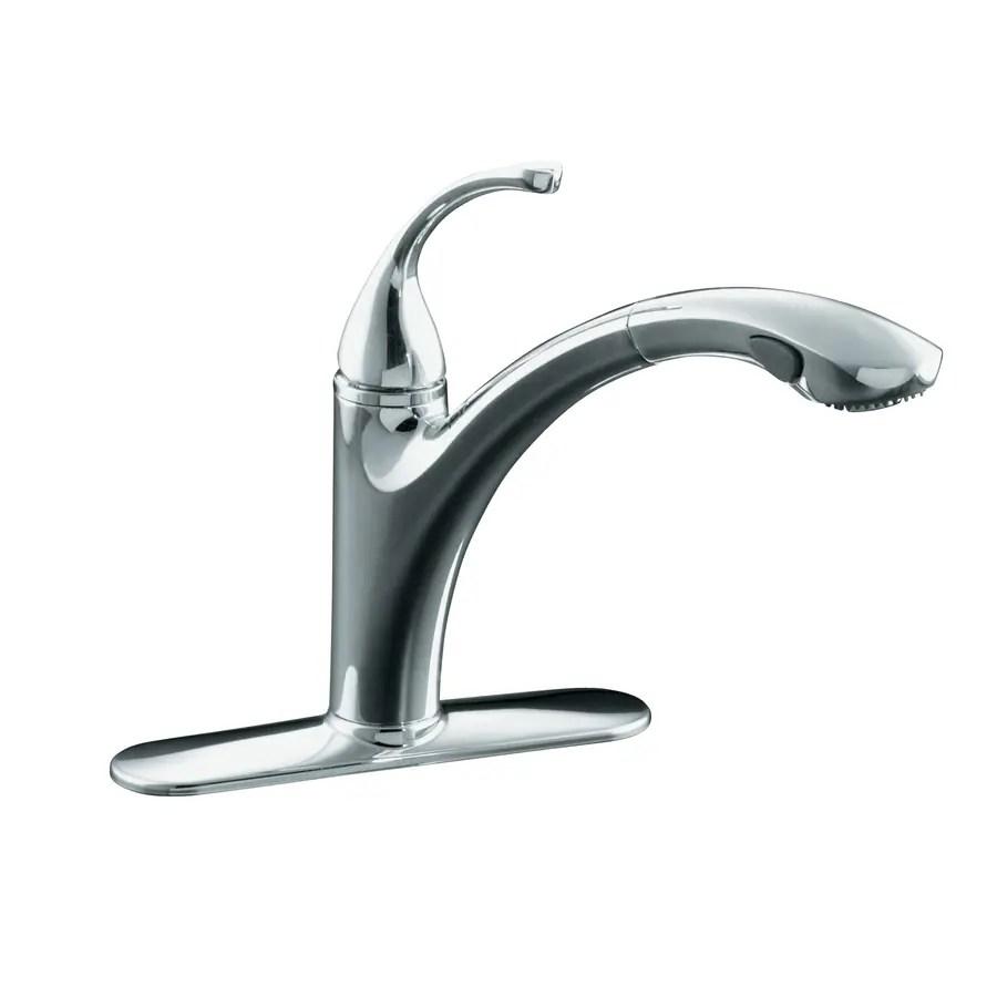 kohler forte polished chrome 1 handle pull out kitchen faucet