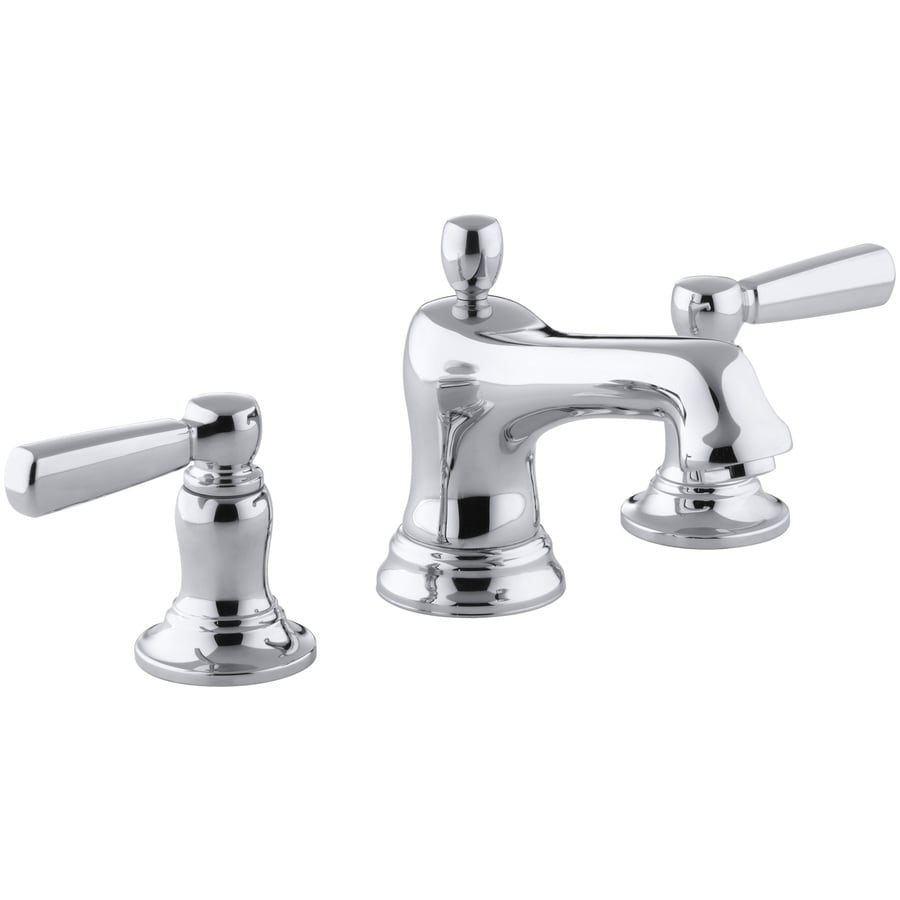 KOHLER Bancroft Polished Chrome 2Handle Widespread WaterSense Bathroom Sink Faucet with Drain