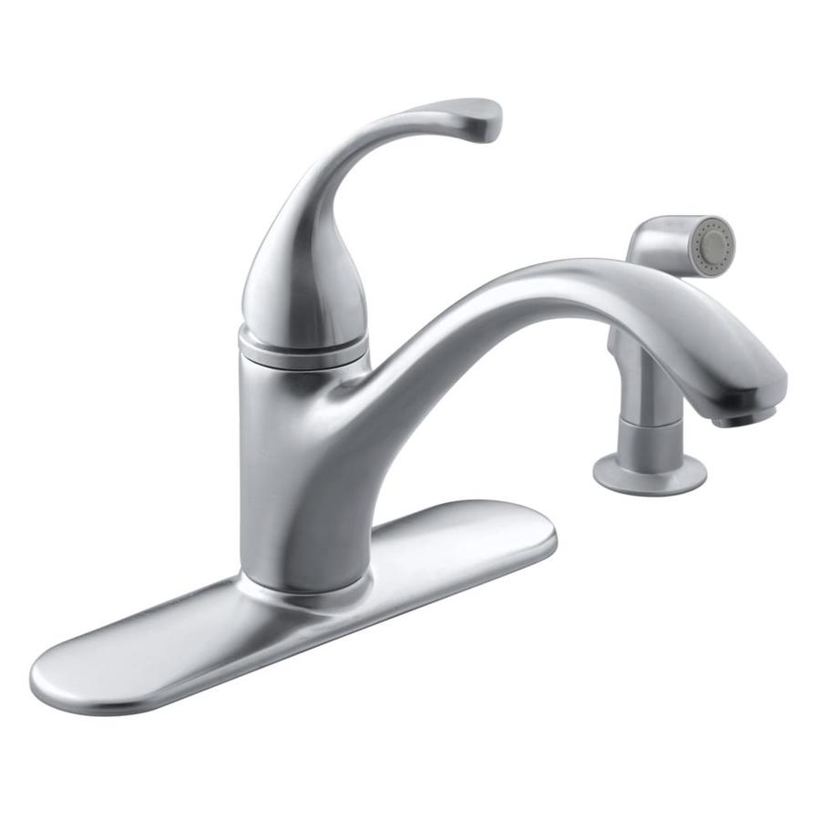 Replacing the kitchen faucet in your home is not that difficult. KOHLER Forte Vibrant Stainless 1-Handle Deck Mount Low-Arc ...