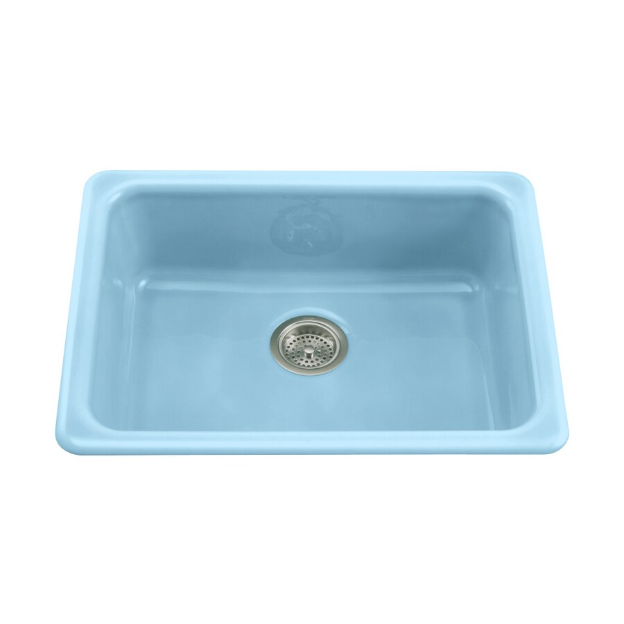 blue kitchen sink pull down faucet kohler vapour single basin cast iron at lowes com