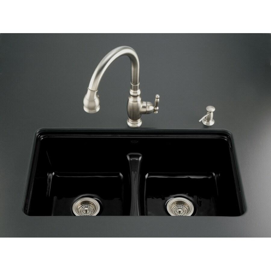 black kitchen sink lowes build your own outdoor kohler 7 hole double basin cast iron undermount
