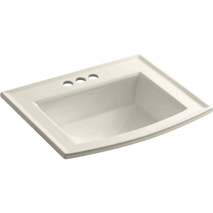 Shop KOHLER Archer Almond Dropin Rectangular Bathroom Sink with Overflow at Lowescom