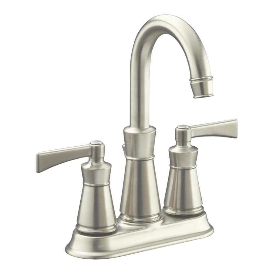 KOHLER Archer Vibrant Brushed Nickel 2Handle 4in Centerset WaterSense Bathroom Faucet Drain