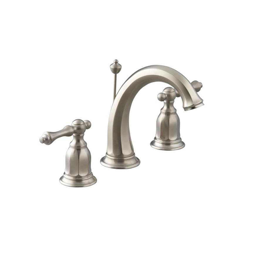Shop KOHLER Kelston Vibrant Brushed Nickel 2Handle Widespread WaterSense Bathroom Faucet Drain