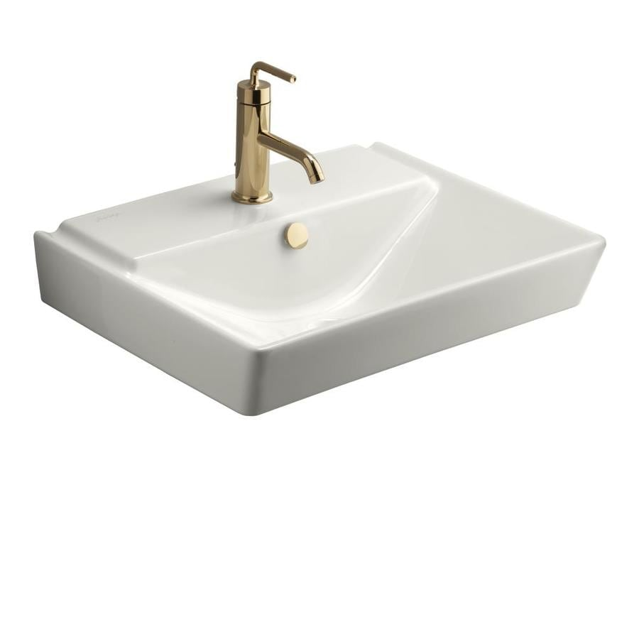 wall mount kitchen faucet lowes cabinet knobs and pulls shop kohler reve white fire clay wall-mount rectangular ...