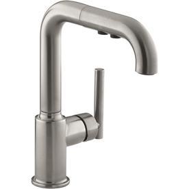 kitchen faucets kohler art prints at lowes com purist vibrant stainless 1 handle high arc faucet