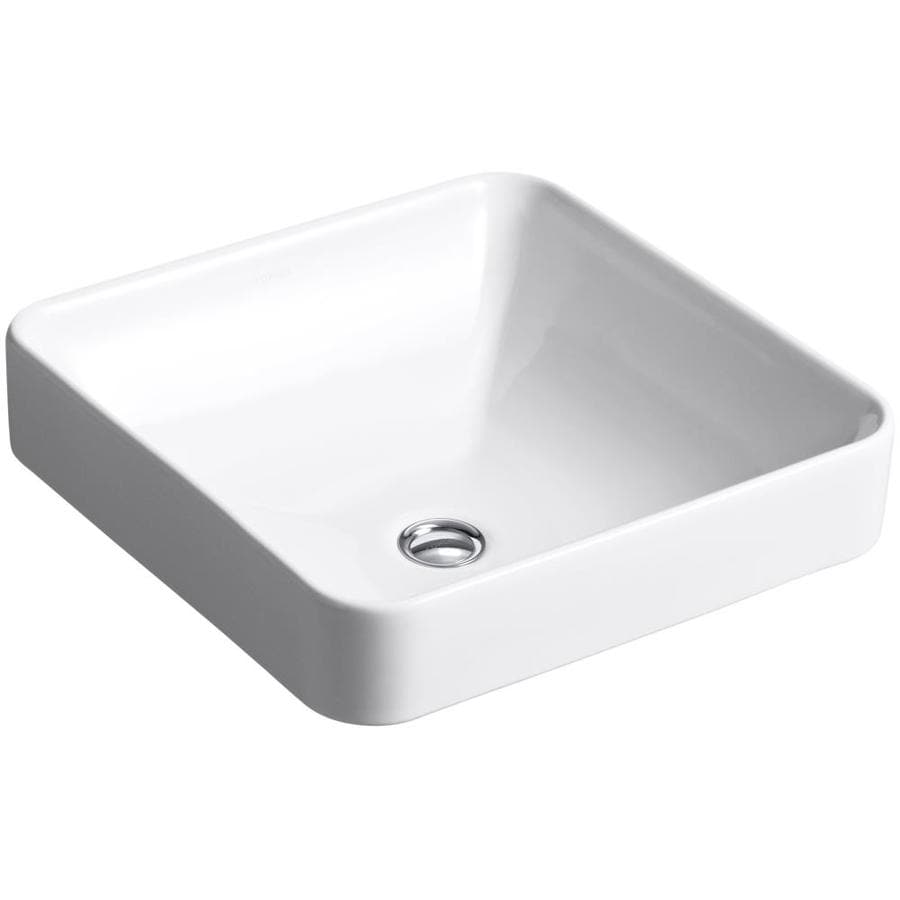 Shop KOHLER Vox White Dropin Square Bathroom Sink with
