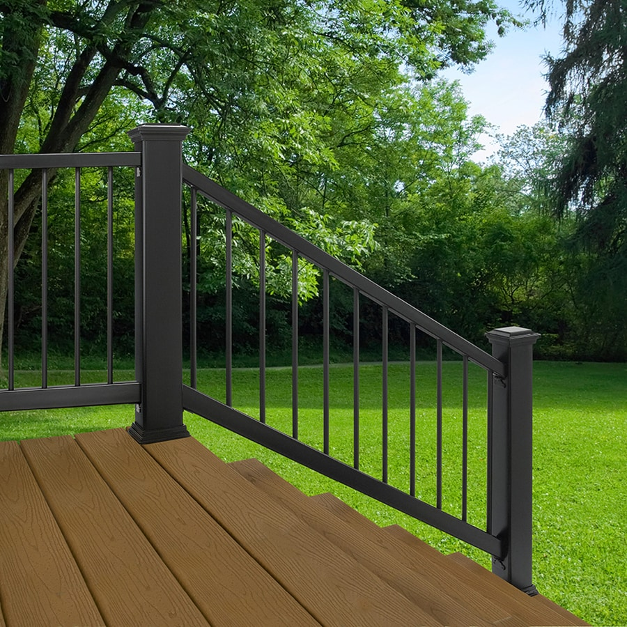 trex enhance 6 ft x 2 75 in x 36 in charcoal black composite deck stair rail kit round balusters included assembly required