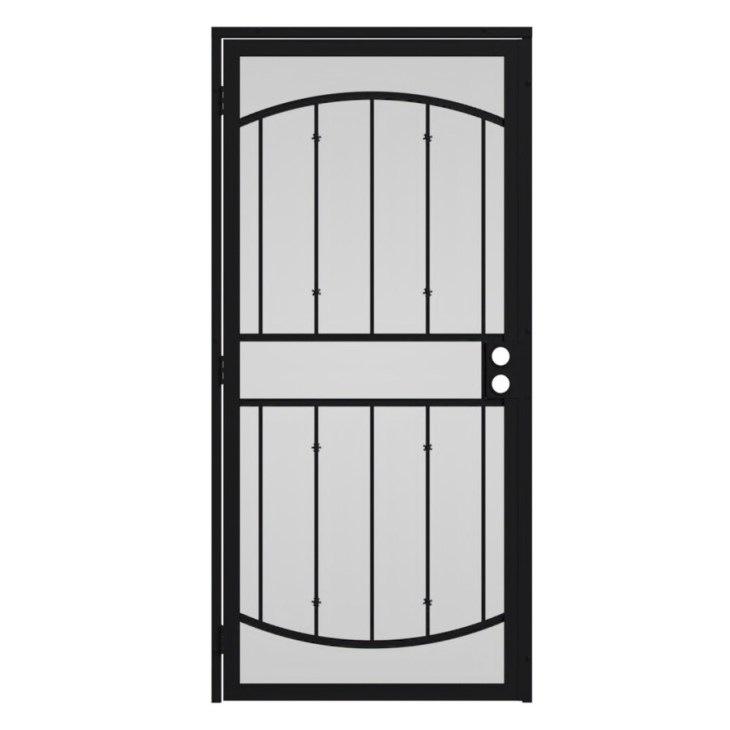 Gatehouse Gibraltar Black Steel Surface Mount Single Security Door (Common:  36-in x