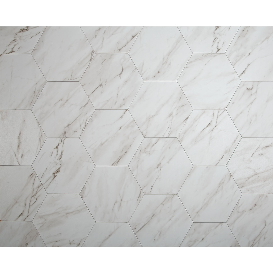 style selections grecian marble 7 3 4 in x 9 in groutable water resistant peel and stick vinyl tile 0 3699 sq ft