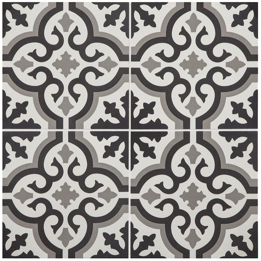 style selections charlotte black and white 9 in x 9 in groutable water resistant peel and stick vinyl tile 0 5625 sq ft