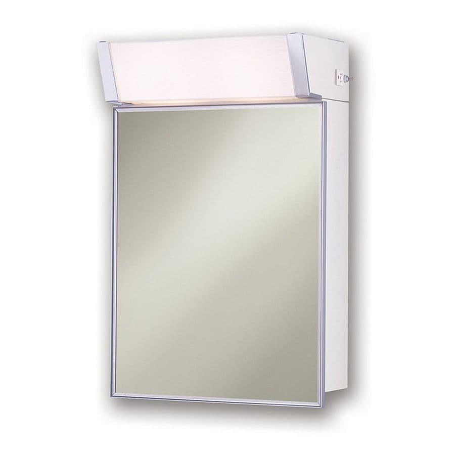 Bathroom Light With Outlet Jensen With Light Cabinet 16 In X 24 In Rectangle Surface Mirrored