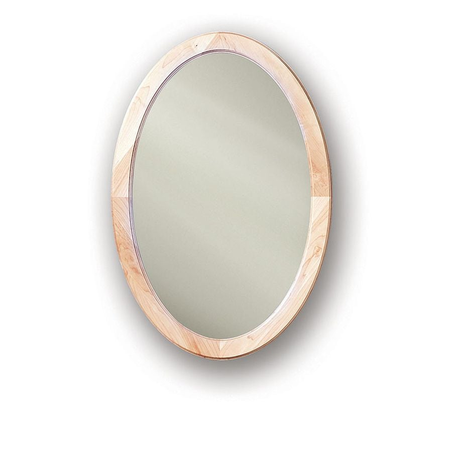 Jensen Dunhill 21in x 31in Oval Recessed Maple Mirrored