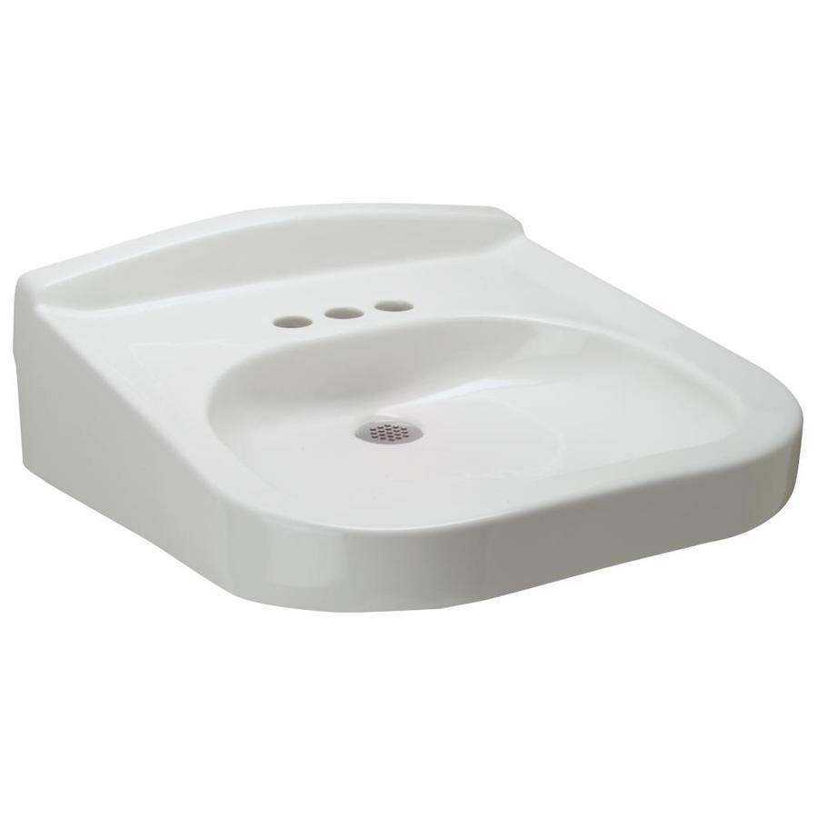 zurn white wall mount rectangular bathroom sink with overflow drain 20 25 in x 23 in