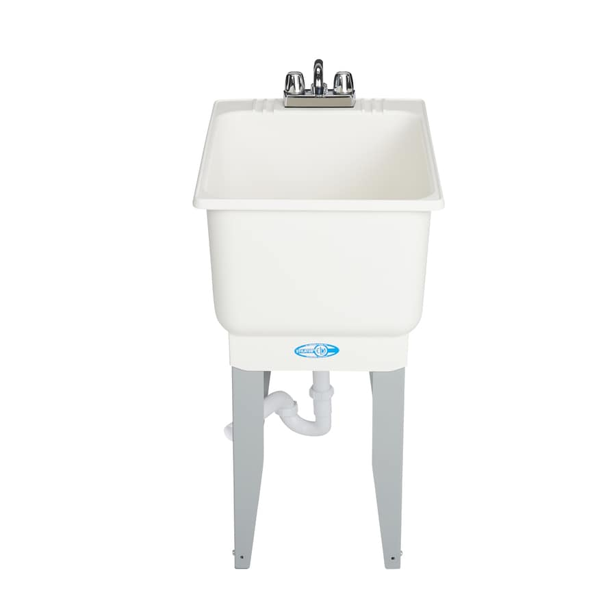 mustee 18 in x 23 5 in 1 basin white freestanding utility tub with drain and faucet lowes com